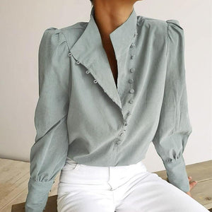 Stand Collar Long Sleeve Button Fashion Blouses