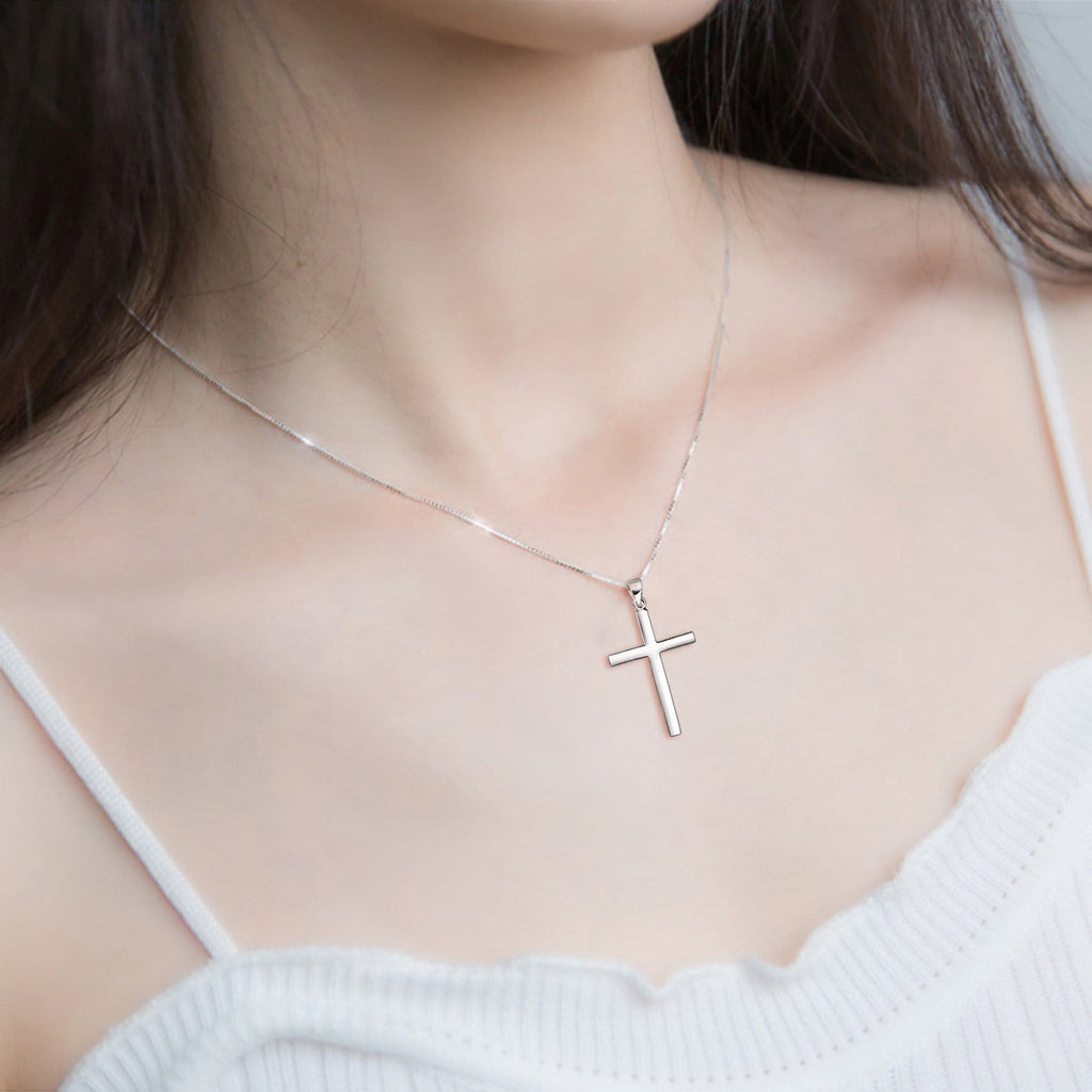 925 Sterling Silver Philippians 4:13 Cross Pendant Strength Bible Verse Necklace 3D Engraved Cross Necklace