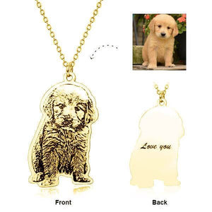 925 Sterling Silver Pet Engraved Photo Necklace Inspiration Necklace Dog Photo Engraved