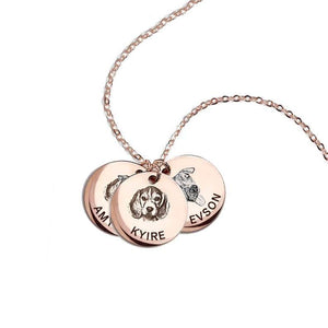 925 Sterling Silver 3 Pet Lithograph Pet Portrait Pet Paw Print Personalized Necklace Gift For Pet Lovers