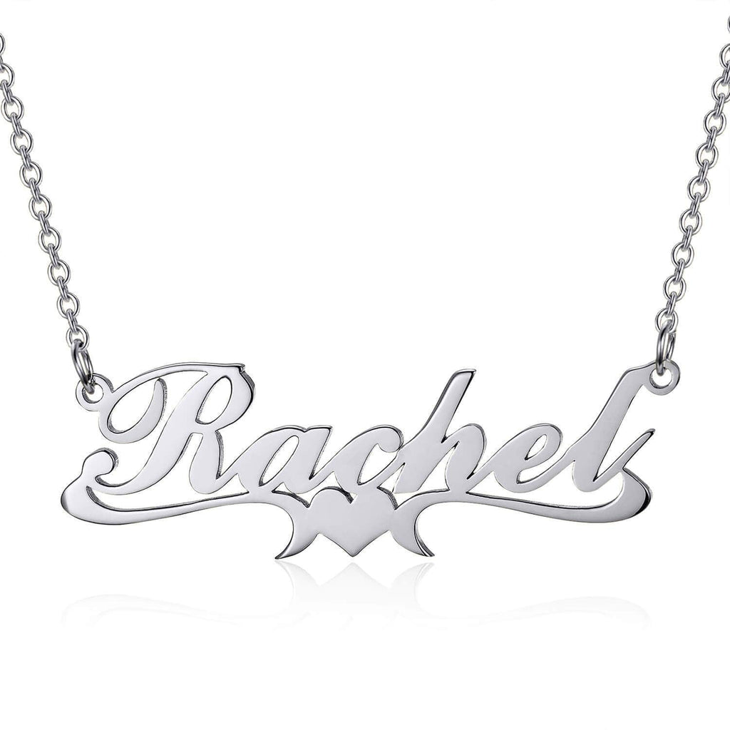 925 Sterling Silver Rachel Style Heart Name Necklace Nameplate Necklace
