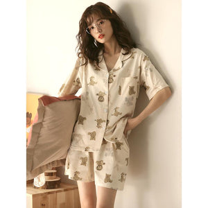 lovely bear cotton pajamas home suits