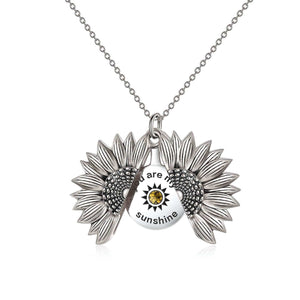 925 Sterling Silver Vintage Customized Open Locket You Are My  Sunshine Sunflower Pendant Necklace With Birthstone