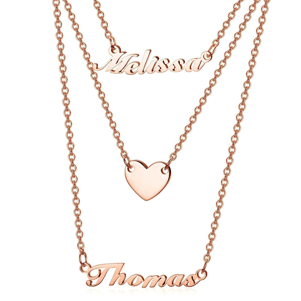 925 Sterling Silver Three Layers Heart Name Necklace Nameplate Necklace