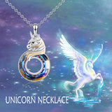 925 Sterling Silver Unicorn with Swarovski Crystal Pendant Necklace Gift For Girl