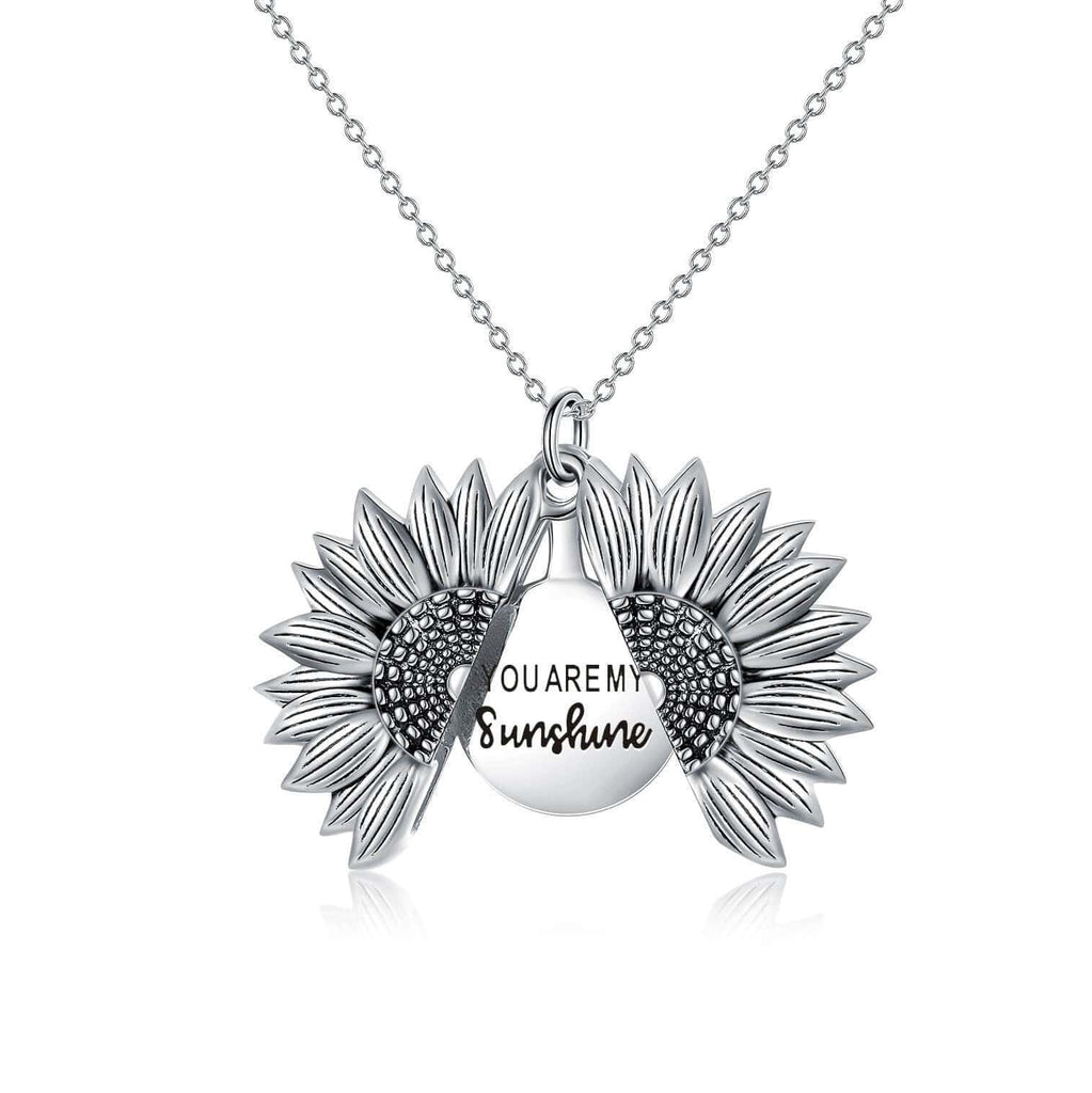 925 Sterling Silver Vintage Customized Open Locket You Are My  Sunshine Sunflower Pendant Necklace
