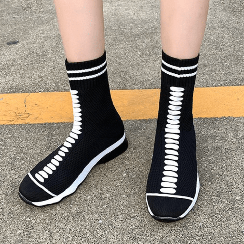 Casual Knit Strap High-top Shoes【size 5-9】