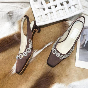 Retro Drilling Square Toe Heeled Sandals