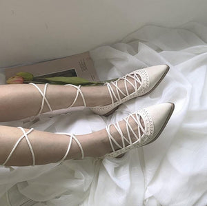 Fairy Pointed Toe Lace-up Ballet Shoes