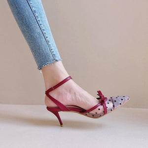 Ladies Bowknot Dots High-heel Shoes