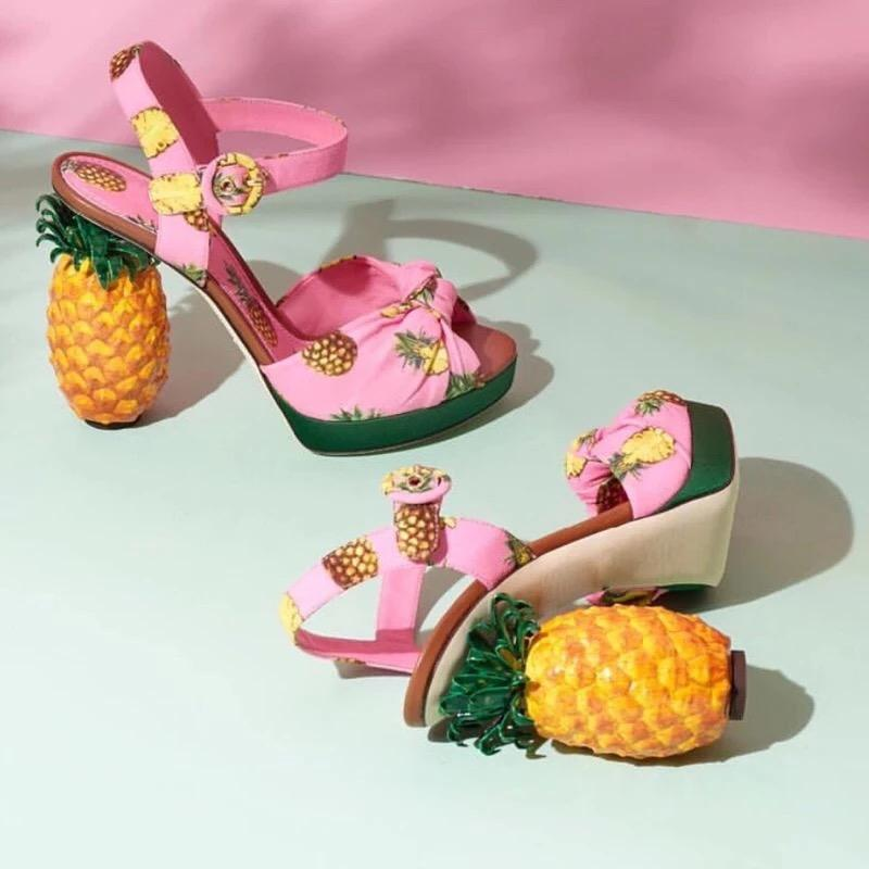 Pineapple Design Sweet High-heel Sandals