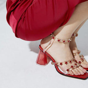 Transparent Crystal Stars Decor Heeled Sandals