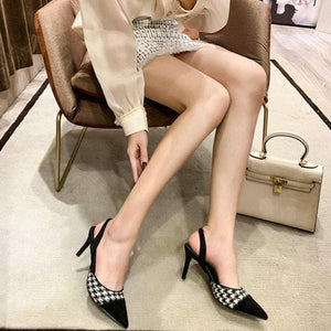 Plaid Pointed Toe Heeled Shoes
