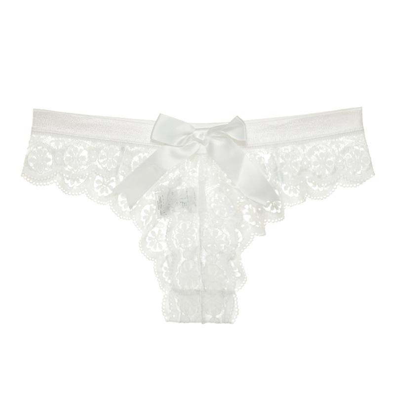 2PCS Bowknot Lace Transparent T-back Thong Underwear