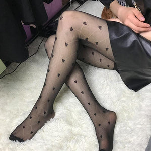 Ladies Heart Bowknot Pantyhose Stockings