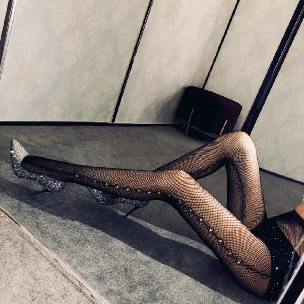 Drilling Hollow Out Mesh Stocking Leggings