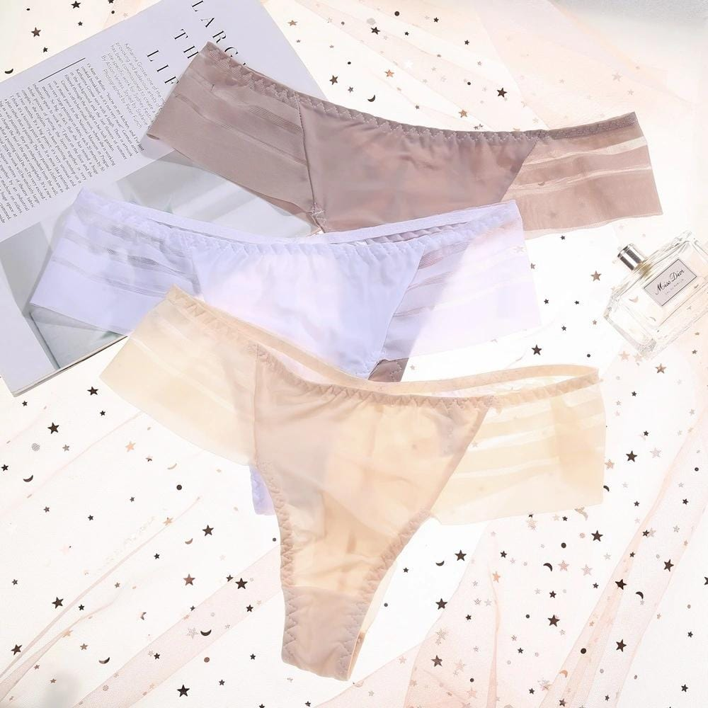 3PCS Transparent Lace Breathable Underpants