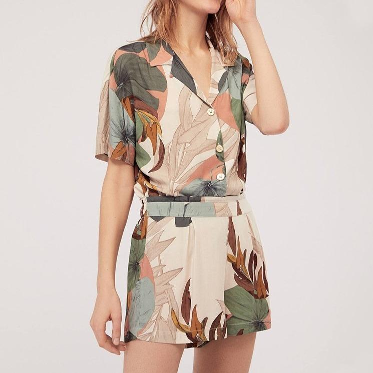 Leaves Floral Printed Shorts Loose Style Pajamas Set