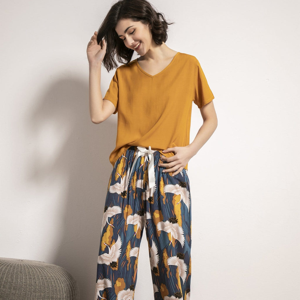 Cotton Flowers Tee Trousers Pajamas Set