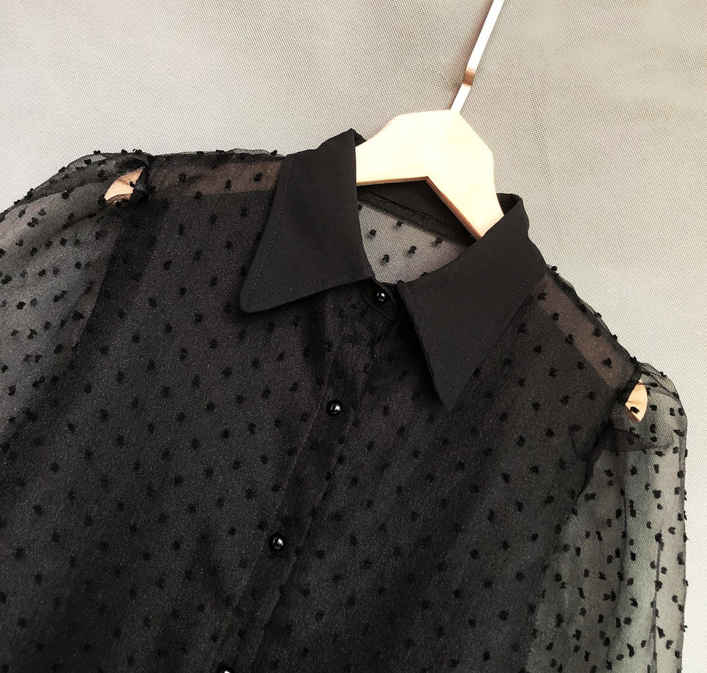 Transparent Dots Lantern Sleeve Pointy Collar Blouses