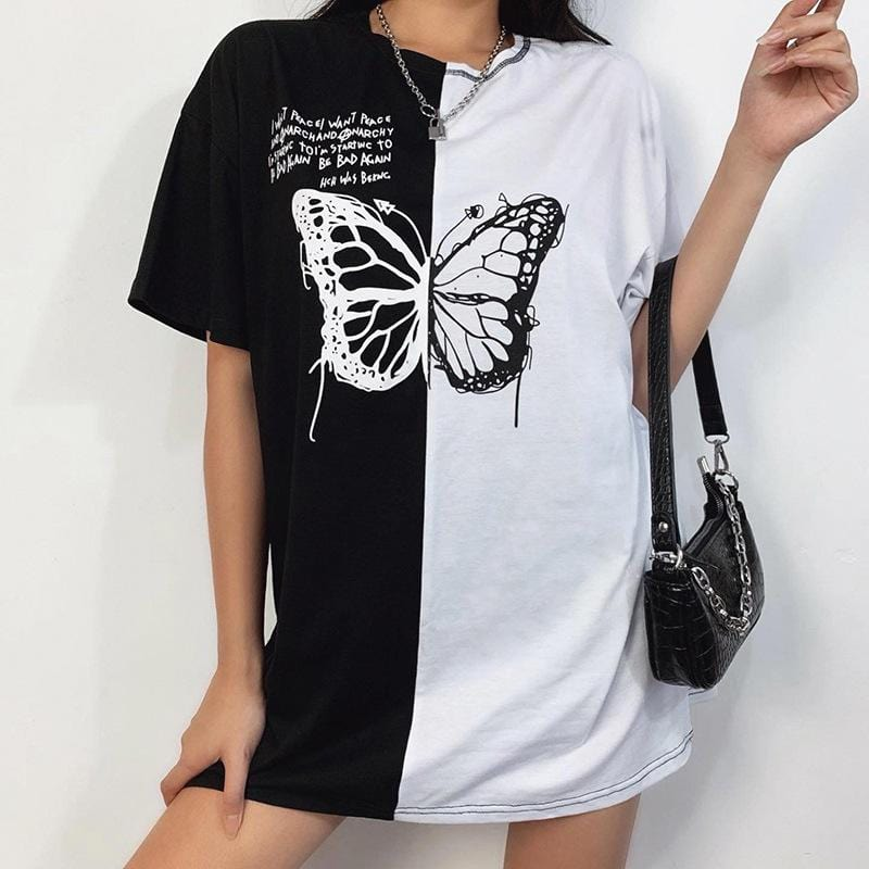 Butterfly Printed Cotton Splice Loose Long T-shirt