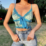 Cute Lace Trimmed Straps Crop Top