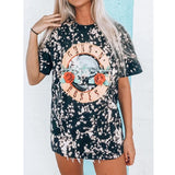 Cartoon Letter Printed Casual Tee