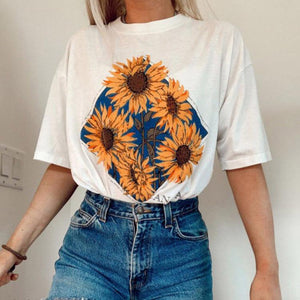 Sunflowers Print Loose Long T-shirt