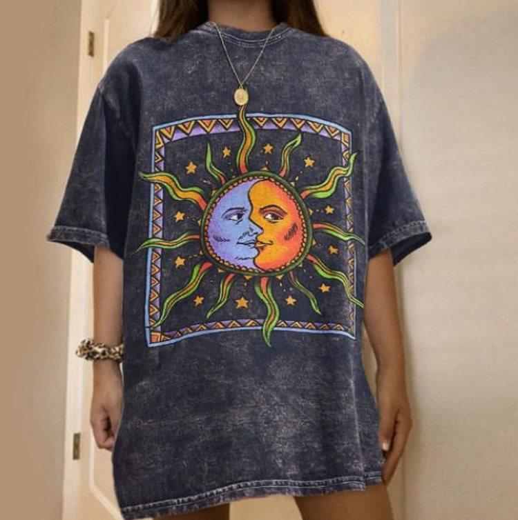 Print Mid-sleeve Casual Loose T-shirts