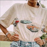 Cartoon Cars Casual Round Collar Tee