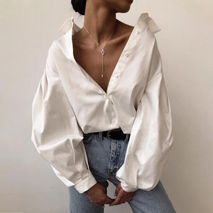 Puff-sleeve Polo Collar Loose Blouse