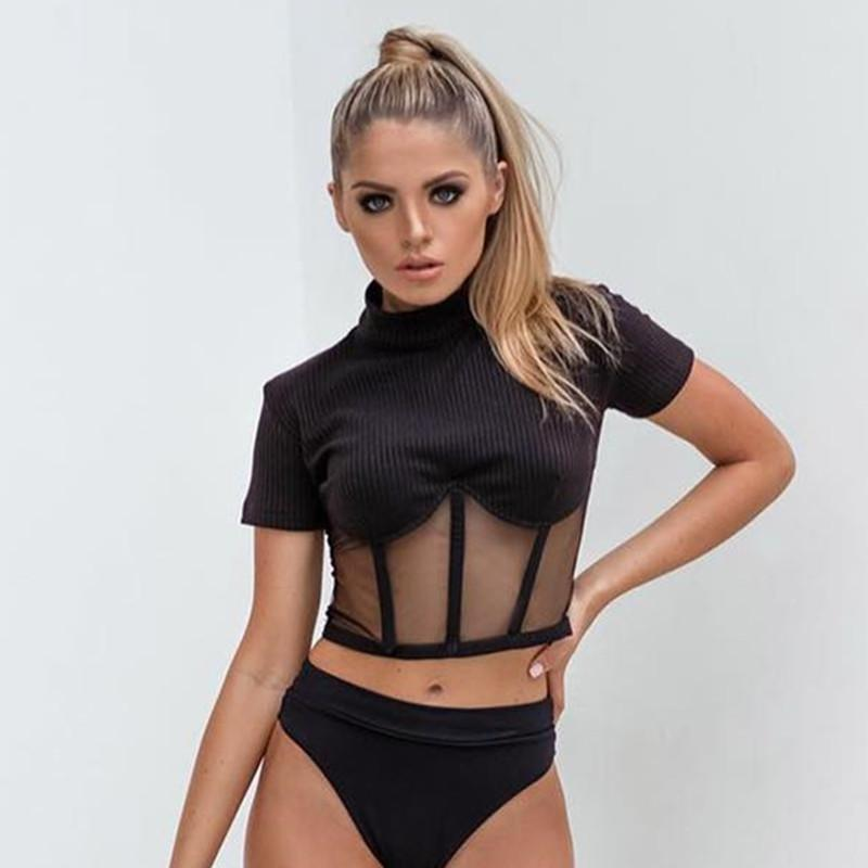Sexy Mesh Knit Crop Top Tee
