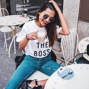 I AM THE BOSS Letter Print Casual T-shirt