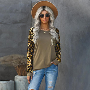 Leopard Splice Pocket Sweatshirt