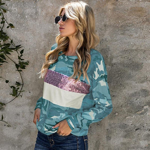 Camouflage Print Causal Pullover