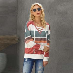 Strip Color Blocked V-neck Lace-up Pullover