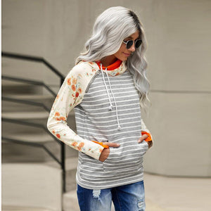 Flowers Stripped Splice Casual Hoodie