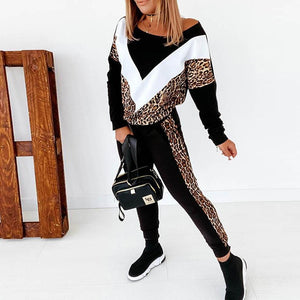 Leopard Splice Casual Pullover Pants Sets