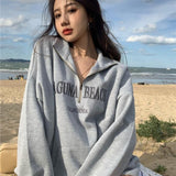 Letter Embroidery Women Oversized Vintage Polo Collar Pullovers