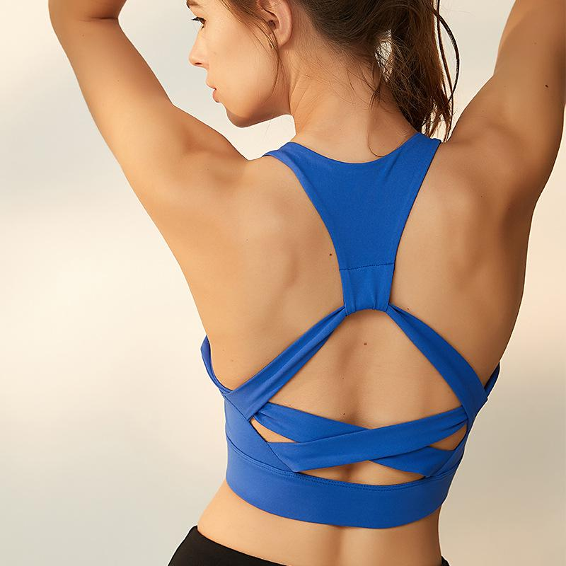 Hollow-out Cross Fitness Bra