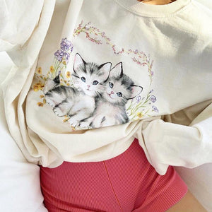 Lovely Cat Print Casual Pullover
