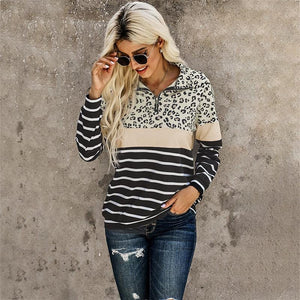 Leopard Stripped Print Color Blocked Zipper Pullover