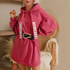 Oversize Fashion Letter Print Dress Hoodies