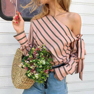 Striped Chiffon One Shoulder Blouse Shirt