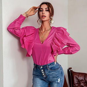 Deep V Neck Ruffle Blouse Shirt