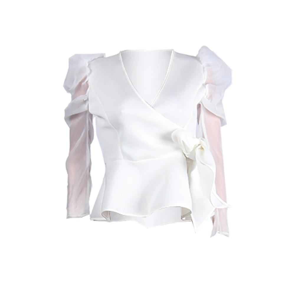 Transparent Puff-sleeve Office Lady Blouse Shirt