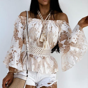 Off-shoulder Chic Ruffle Flare Sleeve Shirt
