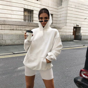 2PCS Fashion Solid Sweat Hoodie and Biker Shorts Set
