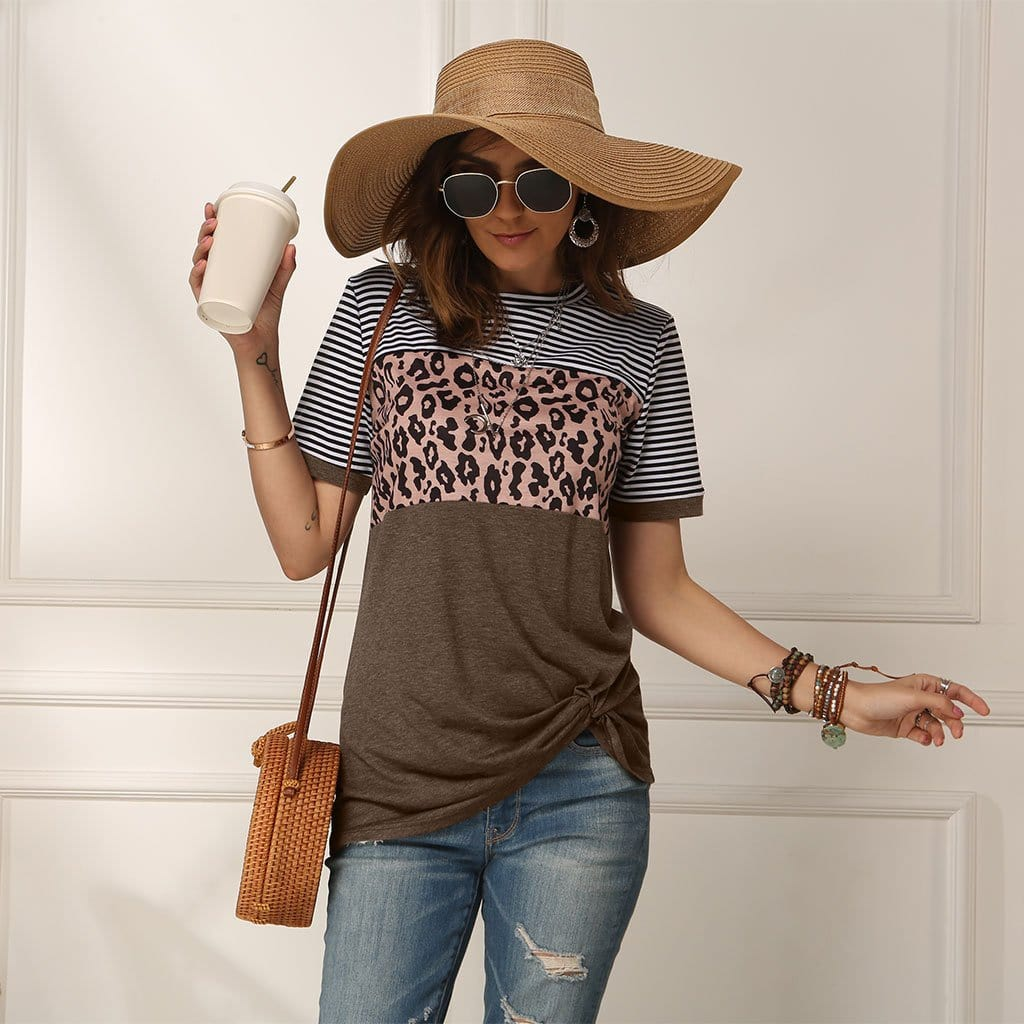 Leopard Stripe Stitching Short Sleeve T-shirt