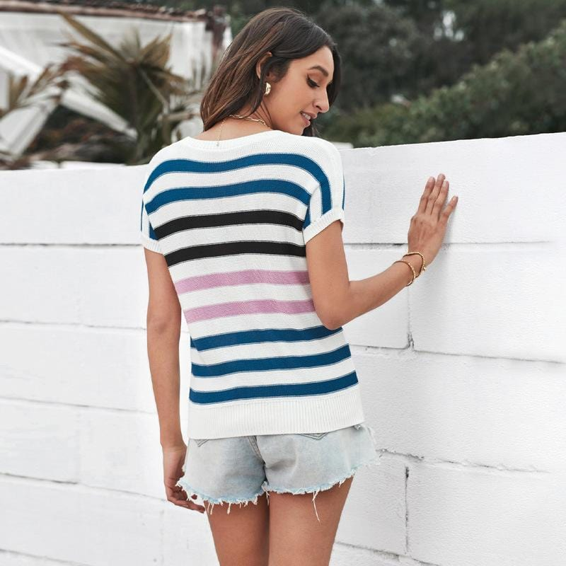 Stripe Knitted Round-collar Tee